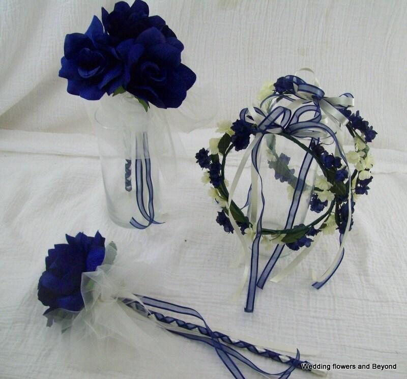 Silk Flower Renaissance Head Piece and Fairy Wand Navy Blue