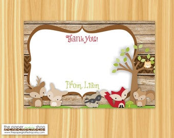 Woodland Thank You Card | Woodland Creatures Thank You Card | Woodland | Fox, Deer  | Woodland Baby Shower Thank You