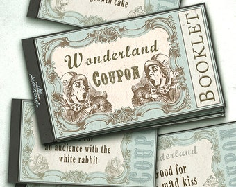 couponheft Alice im Wunderland mint INSTANT DOWNLOAD/Digital Collage Sheet/Scrapbooking/Gutschein