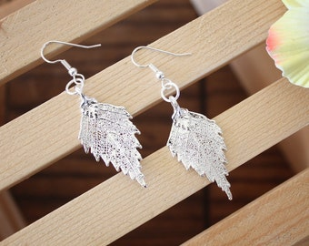 Silver Leaf Earrings, Birch Leaf, Real Leaf Earrings, Sterling Silver, Nature, Tree, Orangnic Jewelry, LESM126