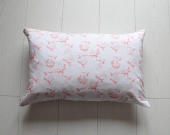 Printed cushion cover inspired by pink Toile de Jouy