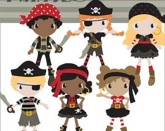 Pirate Clipart -Personal and Limited Commercial Use- Girl Pirates and Boy Pirates Clip art