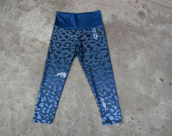 Ombre Blue Graphic Leopard Print and Faux Ripped Blue Jean Design Yoga Leggings, Animal Print Workout Wear