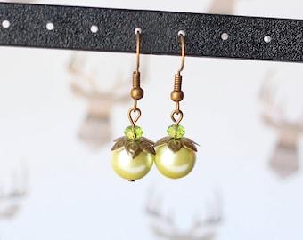 Lime Green Earrings, Antique Brass Earrings, Green Glass Pearl Dangle Earrings, Green Glass Crystal Earrings, Feminine Woodland Jewelry