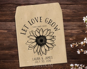 Sunflower Seed Packet Favor Seed Envelopes Seed Favor Seed Packet Favor Wedding Seed Packet Let Love Grow Rustic Wedding Favor x 25