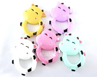 Teether COW food silicone, baby, chew toy, shower gift, Breastfeeding, Chewing pendant, Toy teether, COW Pendant, many color available,  DIY