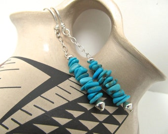 Southwestern Turquoise and Sterling Dangle Earrings