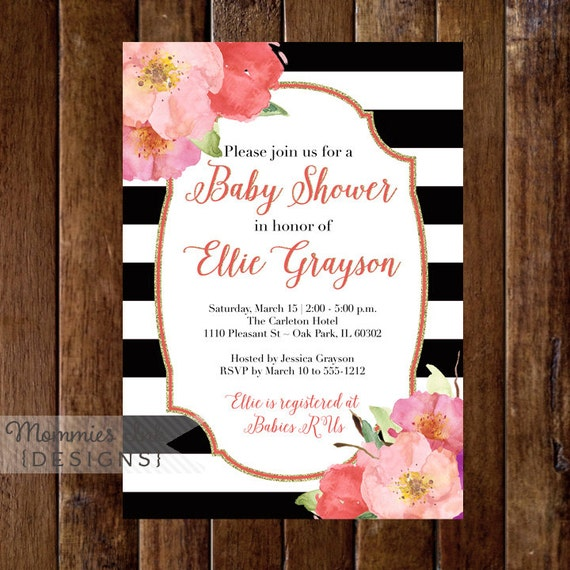 Watercolor flowers baby shower invitation black and white like this item filmwisefo Choice Image