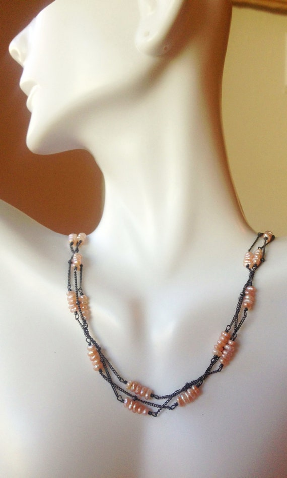 Peach Pearl Necklace  multi strand Petite Pearl  Oxidized Sterling Silver  June Birthstone / Gift for Her