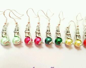 mermaid earrings, mermaid and pearl earrings, fantasy jewelry, mermaid jewelry, mermaid tail earrings, pearl earrings, underwater earrings
