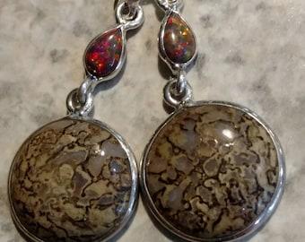 Dinosaur Bone & Fire Opal Earrings