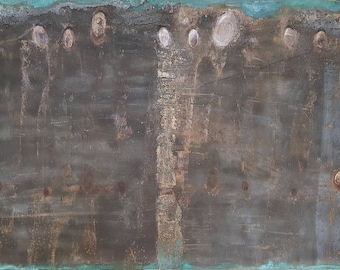 "Painting, mixed media on wood, ""citizens"""
