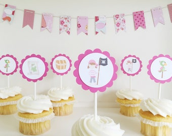 girl  pirate cupcake toppers / birthday party / baby shower / scavenger hunt party / one dozen / set of 12