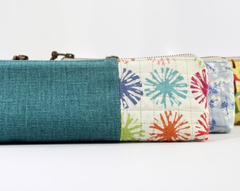 Teal Brushed Canvas and Quilted Pencil Pouch