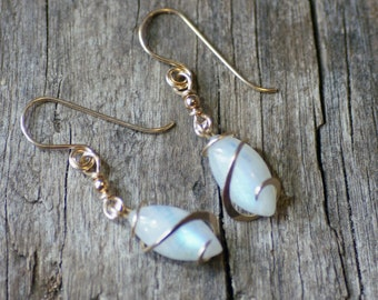 Moonstone Petite Marquise Cold Forged Gold Filled Earrings