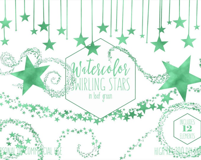 LEAF GREEN STARS Clipart Commercial Use Clip Art Watercolor Swirling Star Trails Borders Celestial Sky Baby Clip Art Star Digital Graphics