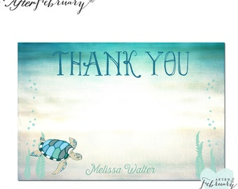 Personalized Sea Turtle Flat Thank You Card // Under the Sea Party Printable OR Printed No.1012BABY