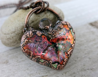 Dichroic Glass Heart Necklace, Copper Electroformed, Glass Heart with Faceted Quartz, Copper Chain
