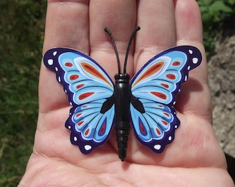 1 BUTTERFLY DECORATION, MULTICOLORED BLUE REFRIGERATOR DECOR. MAGNETIC. 6, 1 X 4, 2 cm. NO. 4