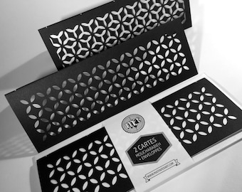 2 MOUCHARABIEH Cards with Envelopes // Invitation Card, Greetings, Birthday, Thank You, Paper Cut, Black and White, Patterns