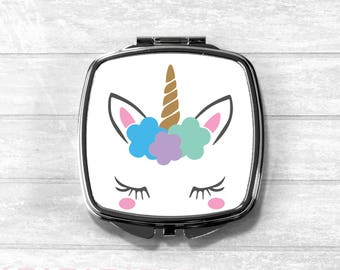 Unicorn Compact Mirror, Cosmetic Mirror, Pocket Mirror, Bridesmaid Gift, Stocking Filler, UK