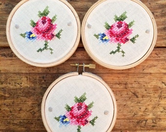 A Rose is a Rose - cross stitch hoop art