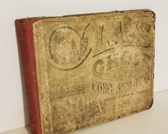 Antique book boards hymn songbook covers old worn choir book early 1900's paper art supplies ephemera