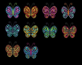 Vibrant Butterfly Embroidery Design Set - Butterfly Machine Embroidery Design - Instant Downloads - 10 Embroidery Design Bundle