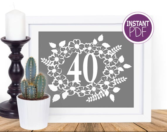 40th Birthday Floral Papercut