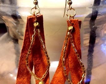 Burnt orange,beaded, sued leather earrings