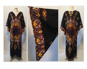 Vintage 70s Maxi Dashiki Dress M Angel Sleeves Caftan with Side Slit