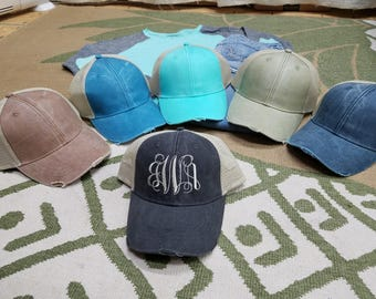 Monogram Distressed Hat with mesh back | **FREE SHIPPING** | Snap Back | Embroidered Monogram