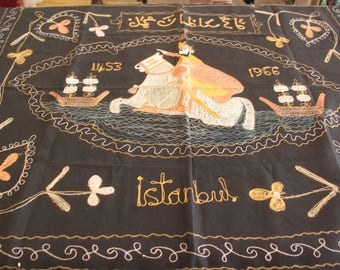 Vintage Istanbul Turkey Commemorative Embroidered Wall Hanging 1966