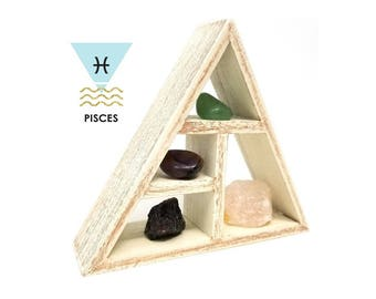 PISCES Zodiac Crystal Healing Shelf Kit / Unique Astrology Stones and Wooden Triangle Shelf Set in Gift Box / Pisces Gifts for Her ~ 02