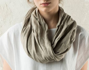 Natural linen infinity scarf, Soft linen scarves by Lovely Home Idea