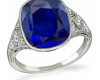 Vintage 5.76ct Sapphire Engagement Ring