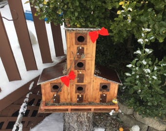 Beautiful handmade 5 Family BirdHouse Nicely Accented Post Mount