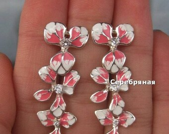 Vintage Sterling Silver ,White and pink flower earrings,925 Sterling Silver Jewelry, White and pink enamel flower,Enamel Earrings