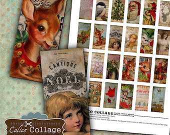 Holiday Collage Sheet 1x2 Domino Images Printable Download Images for Pendants Rectangle Bezel Settings Magnets Calico Collage Graphic