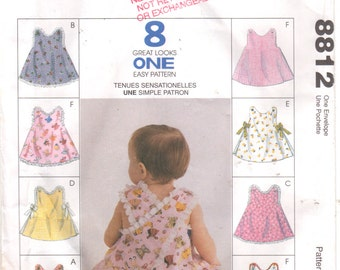McCalls 8812 Infants Set of Summer Button Shoulder Tops AND Panties Pattern Criss Cross Baby Girls  EAsY Sewing Pattern Size S M