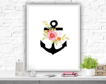 Anchor Printable Art Print Floral Anchor Girl's Nursery Decor Instant Download Pink Wall Art Print