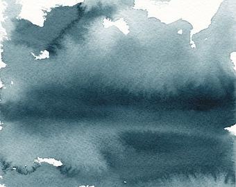 """Stimmungsvoller See Szene, abstrakte Wasserlandschaft Originalgemälde, Aquarell, Indigo blau, 5 """"X 5"""""""