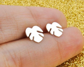 Sterling Silver 925 monstera Earrings, Delicate monstera, Earrings monstera, Small monstera, Mini monstera, Summer Earrings, Stud Silver