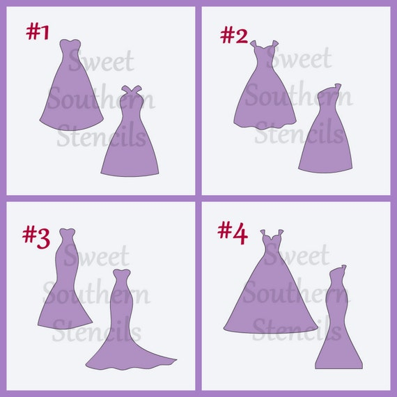 Wedding or Bridesmaid Dresses Stencils (4 separate stencils) from ...
