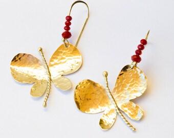 Butterfly earrings, Butterfly dangle earrings ,Gold dangle,Gold dangle earrings, Brass earrings, Brass Butterfly earring,Statement earrings