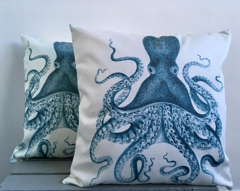 Vintage Octopus Print Cushion Cover