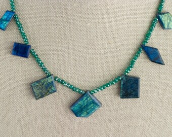 Labradorite Necklace Blue Green Onyx Geometric flashing