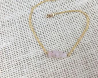 Delicate Rose Quartz and Brass or Sterling Silver Bracelet