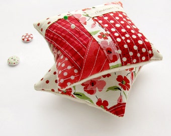 SET OF 2 Red Pincushions, Polka Dots and Floral Pin Cushions, Patchwork OOAK Needle Holders