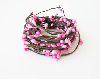 Decorative Wire From 16.4 Feet to 16.73 Feet Pink Brown Floral Arrangement Thin Wire Faux Pearl Drops Wrap Bouquet Supply Craft Supplies
